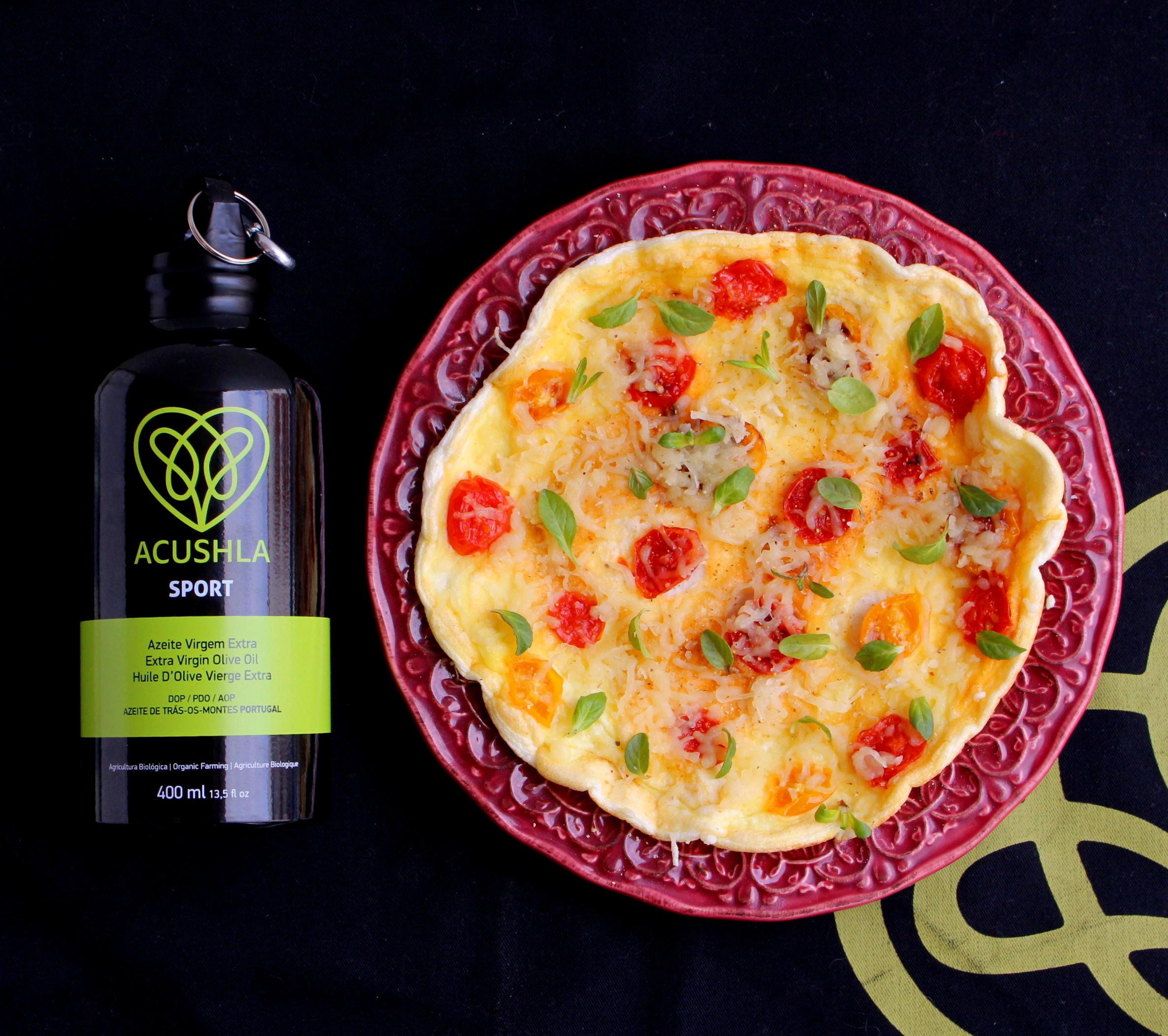 Uma omelete em que as gema do ovo não entra